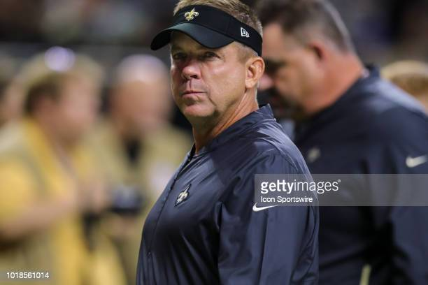 New Orleans Saints head coach Sean Payton looks at an official in an NFL preseason football game between the New Orleans Saints and the Arizona...