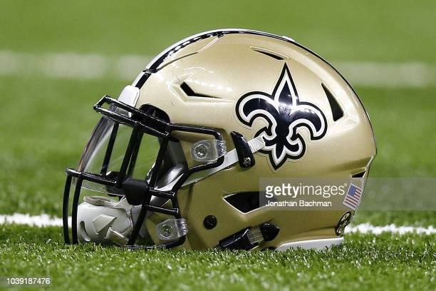 09e49aa1a2d New Orleans Saints helmet is seen during a game against the Cleveland  Browns at the MercedesBenz