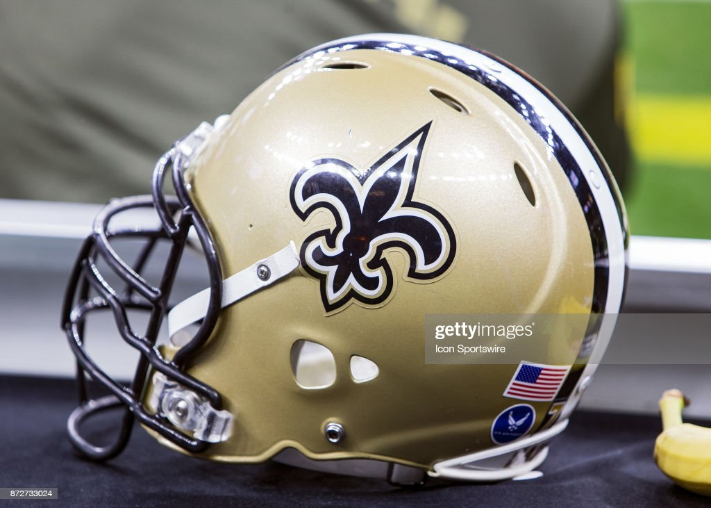A New Orleans Saints helmet rests on the sideline during a game between the Tampa Bay Buccaneers and New Orleans Saints at the Mercedes Benz Superdome in New Orleans, Louisiana on November 5, 2017.