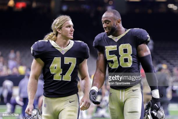 New Orleans Saints linebacker Alex Anzalone and defensive end Obum Gwacham during the game between the New Orleans Saints and the Houston Texans on...