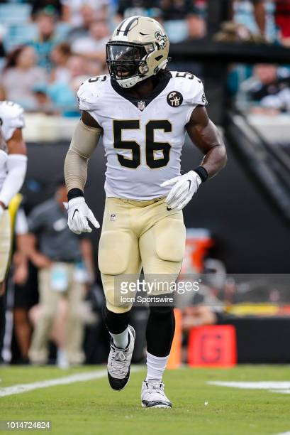 New Orleans Saints linebacker Demario Davis lines up for a play during the game between the New Orleans Saints and the Jacksonville Jaguars on August...