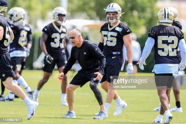 New Orleans Saints linebackers coach Mike Nolan during practice on May 23 2019 at the New Orleans Saints Training Facility in Metairie LA