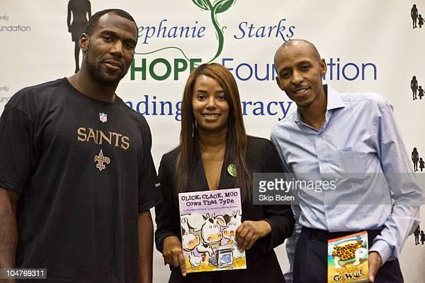 New Orleans Saints player Malcolm Jenkins Stephanie Starks HOPE Foundation CEO Shelia Starks and Stephanie Starks HOPE Foundation Board Member Carl...