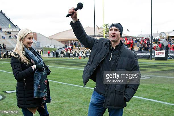 New Orleans Saints quarterback and former Purdue Boilermakers great Drew Brees and his wife Brittany address the crowd in the second half of the game...