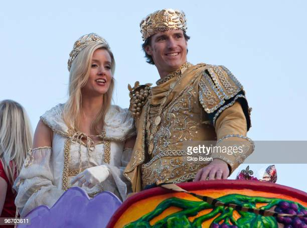 New Orleans Saints Quarterback and Super Bowl MVP Drew Brees reigns as King of Bacchus accompanied by his wife Brittany on the King's float in the...