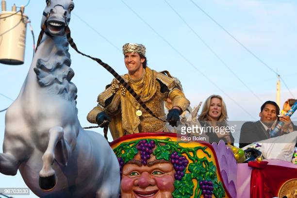 New Orleans Saints Quarterback and Super Bowl MVP Drew Brees takes the reins as he reigns as King of Bacchus in the 2010 Krewe Of Bacchus Mardi Gras...