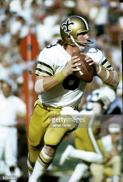 New Orleans Saints quarterback Archie Manning looks to pass in a 297 loss to the Los Angeles Rams on November 11 1973 at Los Angeles Memorial...