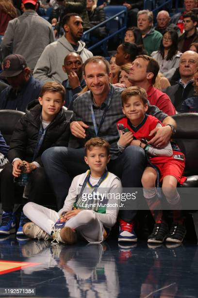 New Orleans Saints Quarterback Drew Bree's and his sons during game on January 8 2020 at the Smoothie King Center in New Orleans Louisiana NOTE TO...