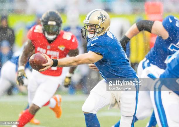 New Orleans Saints quarterback Drew Brees hands the ball off During the NFL Pro Bowl match between the AFC NFC on January 28 2018 at Camping World...