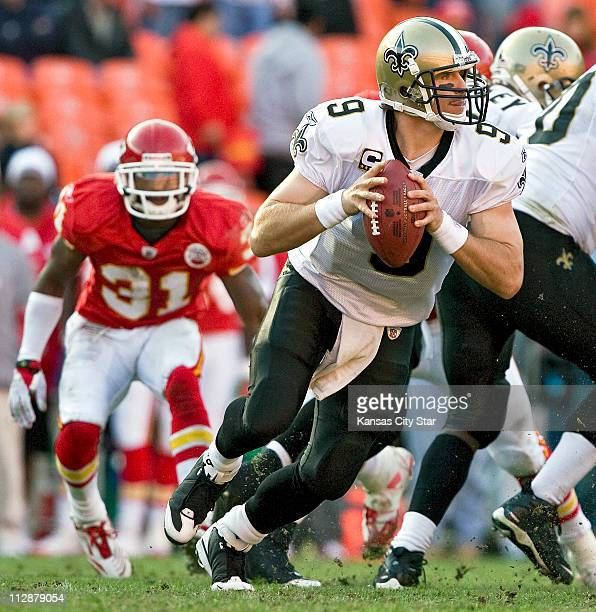 New Orleans Saints quarterback Drew Brees looks to pass against the Kansas City Chiefs The Saints defeated the Chiefs 3020 on Sunday November 16 at...