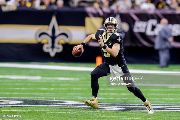New Orleans Saints quarterback Drew Brees scrambles against Pittsburgh Steelers on December 23, 2018 at the Mercedes-Benz Superdome in New Orleans,...