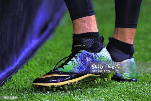 New Orleans Saints quarterback Drew Brees wearing Ellen DeGeneres Campus of the Dian Fossey Gorilla Fund shoes before an NFL preseason game between...