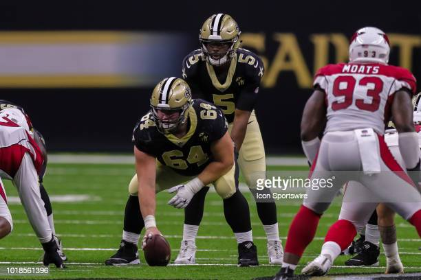 New Orleans Saints quarterback JT Barrett calls for the ball from center Will Clapp in an NFL preseason football game between the New Orleans Saints...