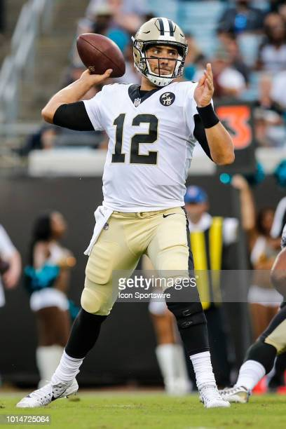 New Orleans Saints quarterback Tom Savage throws a pass during the game between the New Orleans Saints and the Jacksonville Jaguars on August 9 2018...