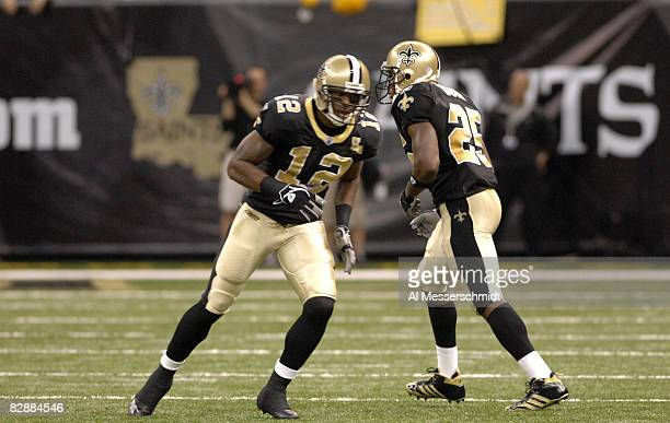 New Orleans Saints rookies wide receiver Marques Colston and running back Reggie Bush line up against the Philadelphia Eagles Oct 15 2006 in New...