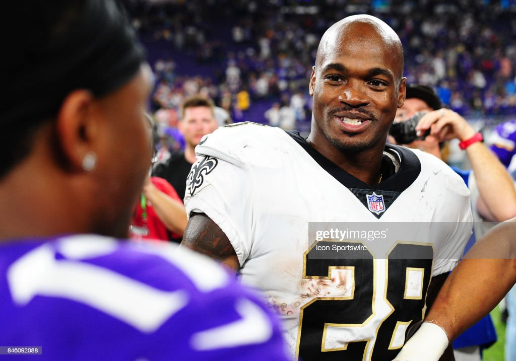 New Orleans Saints running back Adrian Peterson (28) talks with Vikings players after a NFL game between the Minnesota Vikings and New Orleans Saints on September 11, 2017 at U.S. Bank Stadium in Minneapolis, MN. The Vikings defeated the Saints 29-19.