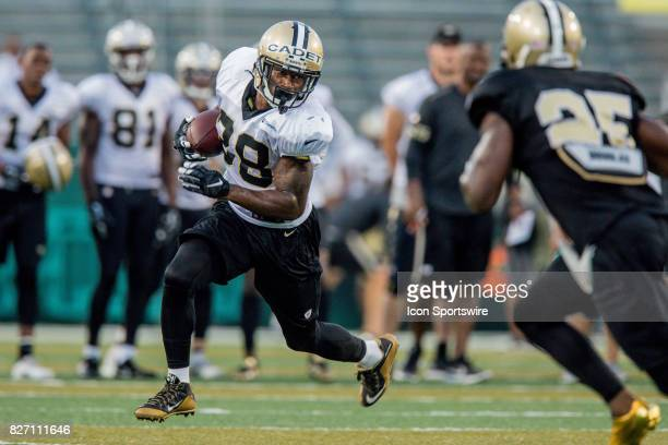 New Orleans Saints running back Adrian Peterson works out during Training Camp on August 06 at the Benson Field at Yulman Stadium in New Orleans LA