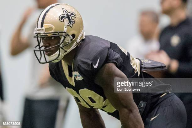 New Orleans Saints running back Adrian Peterson works out during Training Camp on August 23 at the Ochsner Sports Performance Center in Metairie LA