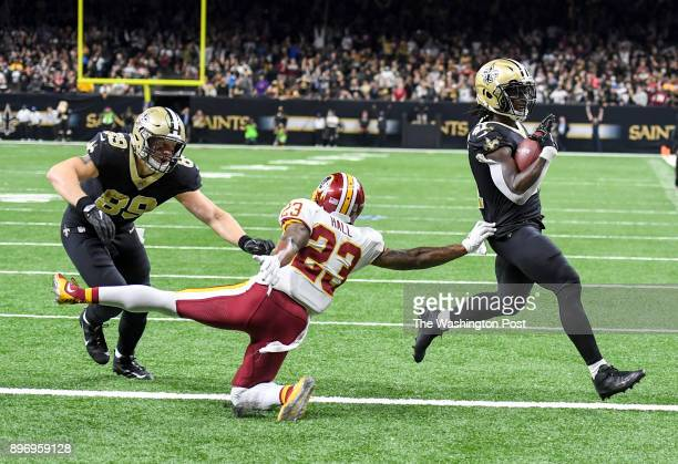 New Orleans Saints running back Alvin Kamara beats Washington Redskins free safety DeAngelo Hall to the corner for a two point conversion to tie the...