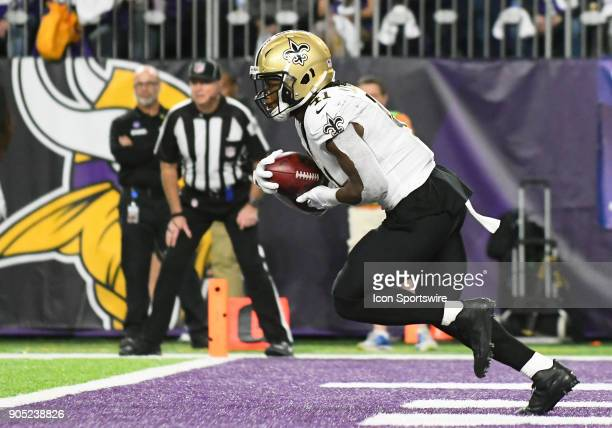 New Orleans Saints running back Alvin Kamara returns a kickoff during a NFC Divisional Playoff game between the Minnesota Vikings and New Orleans...