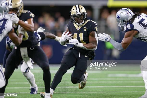 New Orleans Saints Running Back Alvin Kamara rushes with the ball during the game between the Dallas Cowboys and New Orleans Saints on November 29...