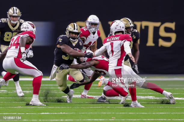New Orleans Saints running back Boston Scott in an NFL preseason football game between the New Orleans Saints and the Arizona Cardinals on August 17...