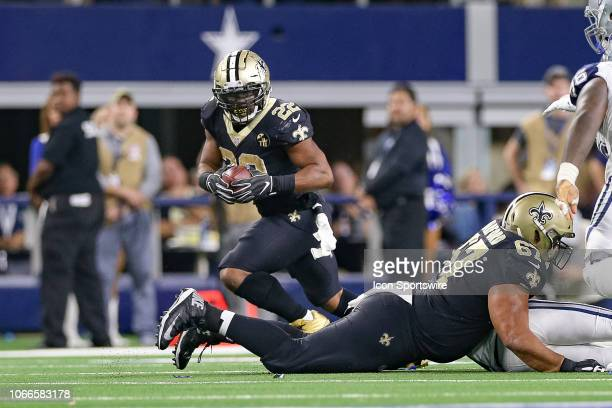 New Orleans Saints Running Back Mark Ingram II runs around the edge during the game between the Dallas Cowboys and New Orleans Saints on November 29...