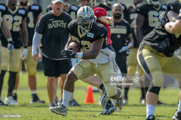 New Orleans Saints running back Mark Ingram II runs through a drill during New Orleans Saints training camp practice on July 28 2018 at the Ochsner...