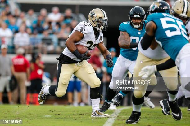 New Orleans Saints running back Mark Ingram runs for a gain during the game between the New Orleans Saints and the Jacksonville Jaguars on August 9...