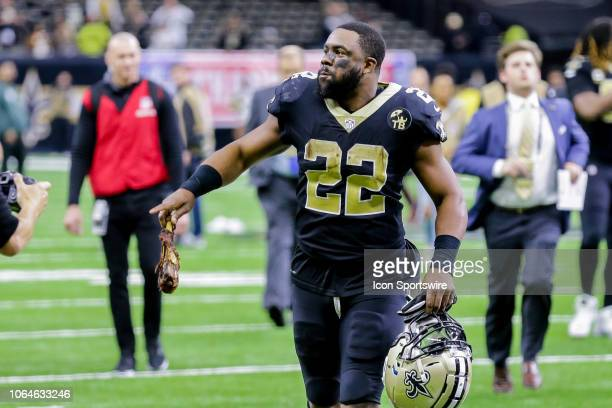 New Orleans Saints running back Mark Ingram runs off the field after the game against Atlanta Falcons on November 22 2018 at the MercedesBenz...