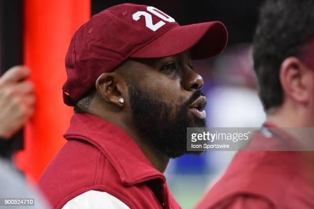 New Orleans Saints running back Mark Ingram watches the Crimson Tide from the sideline during the College Football Playoff Semifinal at the Allstate...