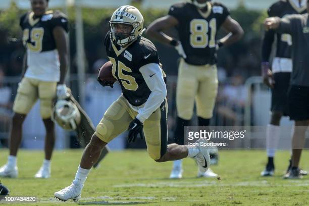 New Orleans Saints running back Shane Vereen runs through a drill during New Orleans Saints training camp practice on July 28 2018 at the Ochsner...