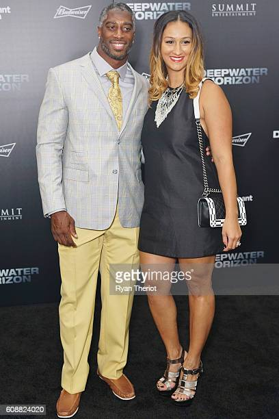 New Orleans Saints Safety Roman Harper and his wife Heather Harper arrive for the Deepwater Horizon New Orleans Premiere at The Orpheum Theatre on...
