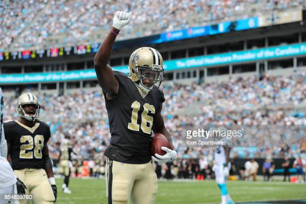 New Orleans Saints wide receiver Brandon Coleman holds up his fist in the end zone after his score during the second quarter of the game on September...