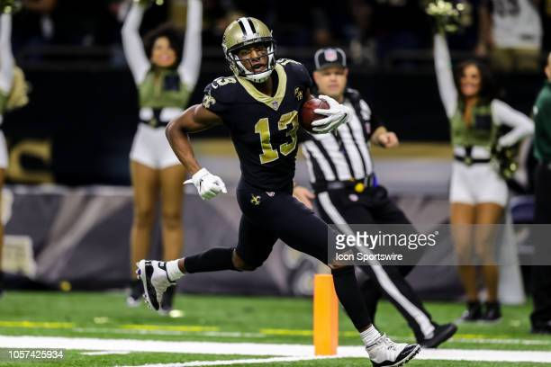 New Orleans Saints wide receiver Michael Thomas runs in a touchdown pass against Los Angeles Rams on November 04 2018 in the second half at the...