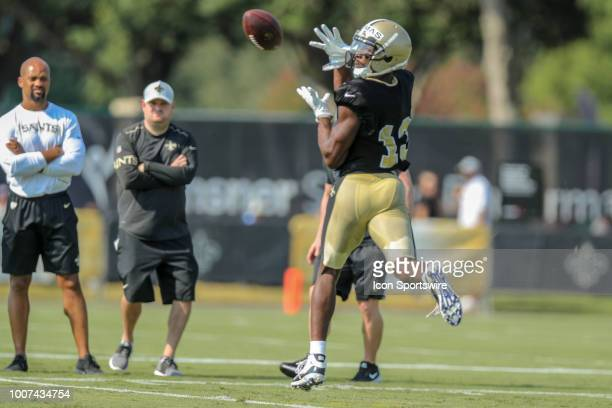 New Orleans Saints wide receiver Michael Thomas runs through a drill during New Orleans Saints training camp practice on July 28 2018 at the Ochsner...