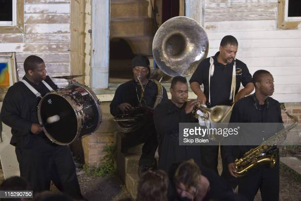 New Orleans' Salty Dog Second Line Band plays to the audience before Samuel Beckett's 'Waiting for Godot' performed on Saturday October 10 2007 in...