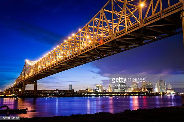 new orleans skyline at night, louisiana, usa - new orleans french quarter stock photos and pictures