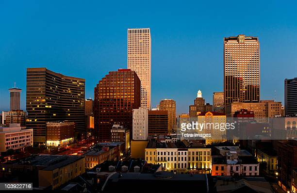 new orleans skyline at night - category:new_orleans stock pictures, royalty-free photos & images