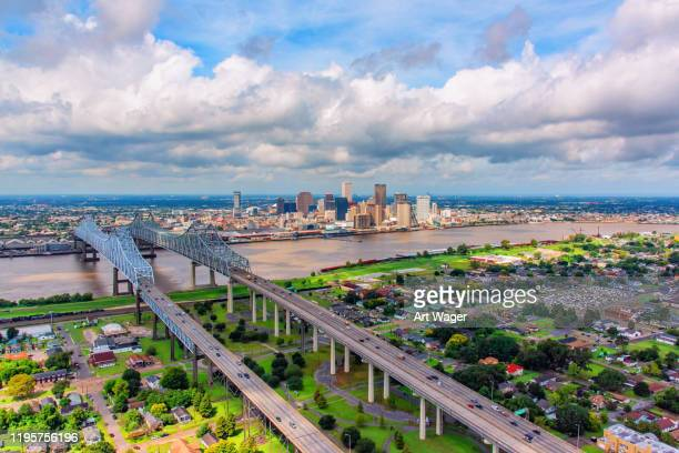 new orleans skyline from above - la waterfront stock pictures, royalty-free photos & images