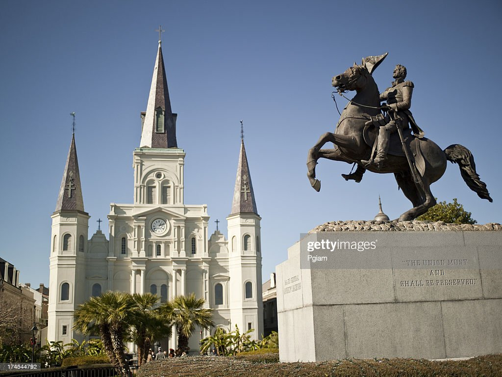 New Orleans, St. Louis Cathedral and General Jackson : Stock Photo