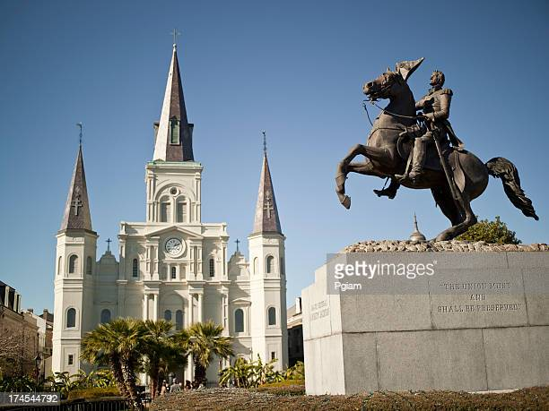 new orleans, st. louis cathedral and general jackson - andrew jackson stock photos and pictures