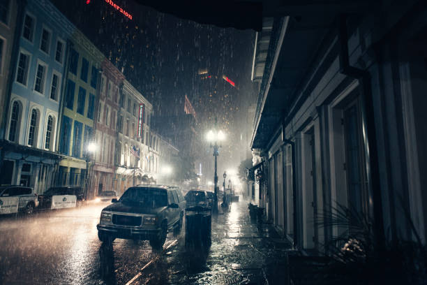 New Orleans traditional street in heavy rain