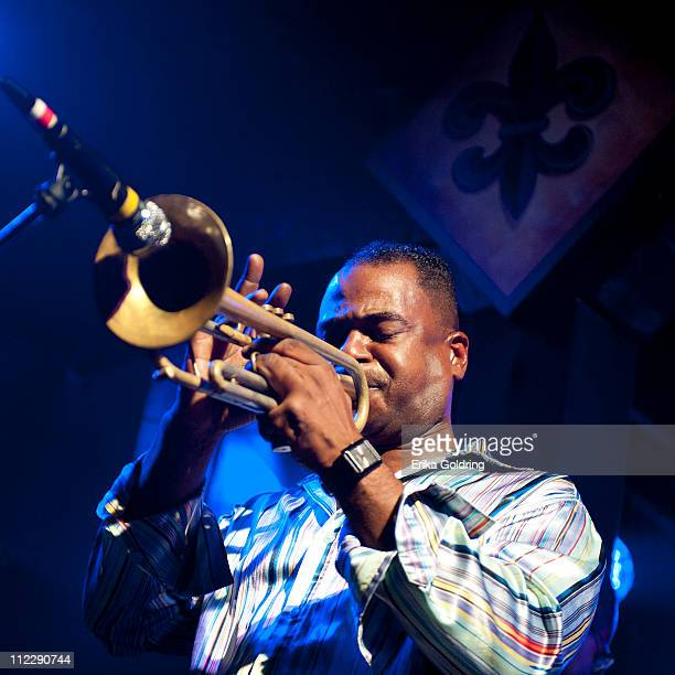 New Orleans trumpeter Marlon Jordan performs during the Trumpets Not Guns benefit concert at Tipitina's on April 16 2011 in New Orleans Louisiana