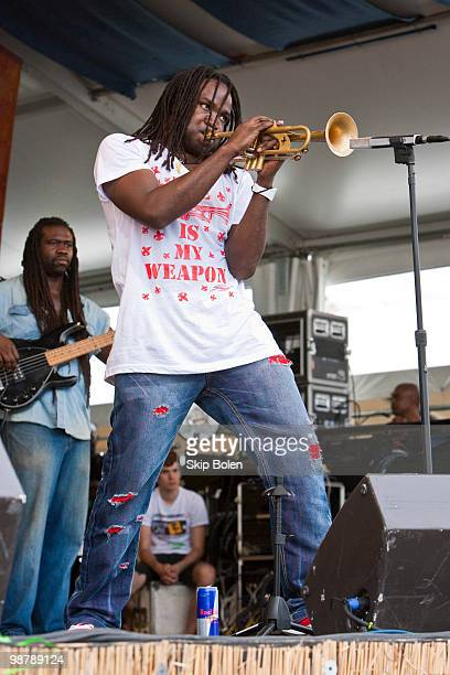 New Orleans trumpeter Shamarr Allen of Shamarr Allen The Underdawgs performs during day 6 of the 41st annual New Orleans Jazz Heritage Festival at...
