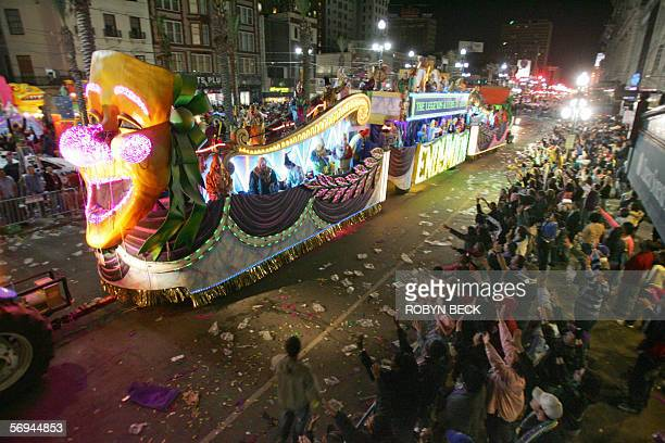 A float in the Endymion parade rolls down Canal Street in the Central Business District of New Orleans during Mardi Gras festivities 26 February 2006...