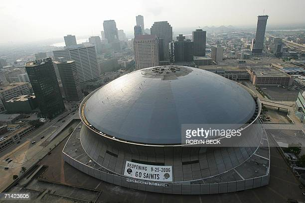 A view of the Louisiana Superdome in downtown New Orleans 11 July 2006 Roof repair work is expected to be completely later this month as the...