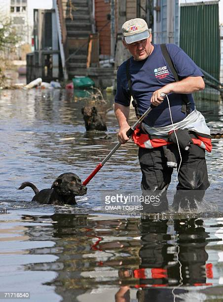This 09 September 2005 file photo shows an SPCA worker rescuing a dog in the flooded streets of New Orleans in the wake of Hurricane Katrina Most of...