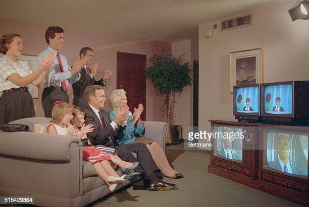 Vice President and Mrs Bush are accompanied by some of their family as they watch the Republican Convention on TV from their hotel 8/16 With them on...