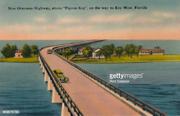 New Overseas Highway above Pigeon Key on the way to Key West Florida' circa 1940s From Souvenir Folder of Quaint Key West Fla [Tichnor Quality Views...